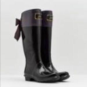 Joules Black & Slate Gray Evedon Rain Boot – NWT